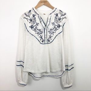 Free People FP Peasant Embroidered Blouse Boho